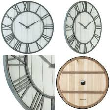 wall clock whitewashed 36d round wood