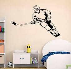 Home Decor Wall Decor Ice Hockey Decal Varsity Letter Decal With Name And Hockey Puck Hockey Decal For Teen Boys Bedroom Sports Wall Decal Hockey Wall Decal Wall Decals Murals Home