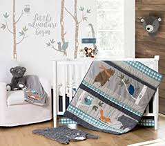 Amazon Com Levtex Baby Play Day Crib Bed Set Baby Nursery Set Teal Grey Orange Brown Green Woodland Animals 5 Piece Set Includes Quilt Fitted Sheet Diaper