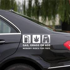 16x8cm Funny Car Sticker Reflective Vinyl Decal Car Window Bumper Printed With Gas Grass Or Ass Words Auto Styling Buy At The Price Of 0 63 In Aliexpress Com Imall Com