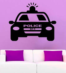 Police Car Wall Decal Policeman Cool Vinyl Wall Stickers For Kids Room Boys Bedroom Playroom Design Modern Art Mural Decorsyy761 Sticker For Kids Room Vinyl Wall Stickerswall Stickers For Kids Aliexpress