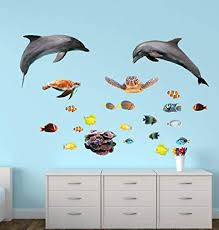 Amazon Com Dolphin Wall Decals With Tropical Fish Stickers Home Improvement
