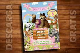 Plantilla Invitacion Masha Y El Oso Masha And The Bear