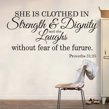 Proverbs 31 25 She Is Clothed In Strength And Dignity Wall Sticker Bedroom Bible Verse Quote Wall Decal Girl Room Vinyl Decor Wall Stickers Aliexpress