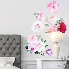 Peony Flowers Seasonal Bouquet Wall Sticker Rose Orchid Burgundy Red White Peony Art 3030 Innovativestencils