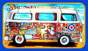 4 5 Vw Hippie Bus Vinyl Sticker Grateful Dead Jimi H