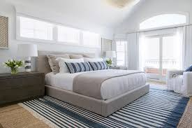 dove gray linen platform bed with blue