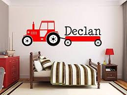 Amazon Com Custom Product For Personalized Name Interesting Tractor Vinyl Wall Stickers For Kids Boy Room Bedroom Wall Decal Home Decoration Customized Name Kitchen Dining