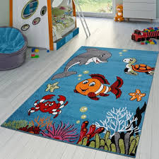 Kc Cubs Multi Color Kids Children And Teen Bedroom And Playroom Clown Fish And Sea School Friends 5 Ft X 7 Ft Area Rug Kcp010028 5x7 The Home Depot