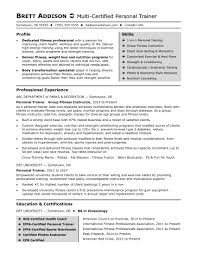 personal trainer resume sle