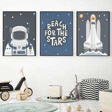 Astronaut Spacecraft Posters Wall Art Canvas Painting Nordic Nursery Print Scandinavian Decorative Picture Boys Room Decoration Nana S Corner Beauty Cosmetic