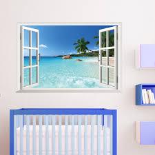 3d Window Decal Wall Sticker Home Decor Exotic Beach View Art Wallpaper Mural Walmart Com Walmart Com