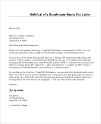 sle thank you letter for scholarship