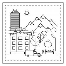 Stad Landschap Kleurplaat Voor Kinderen Premium Vector