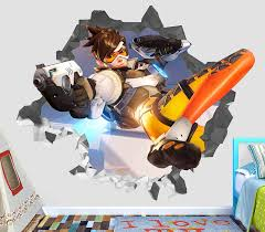 Amazon Com Overwatch Wall Decal Smashed 3d Sticker Vinyl Decor Mural Games Broken Wall 3d Designs Op244 Large Wide 40 X 36 Height Home Kitchen