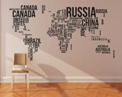 Cool World Wall Art Decal If Only Canada And Russia Weren T Printed So Large World Map Wall Decal Map Wall Decal World Map Wall