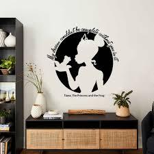 Princess Girl Wall Decal Tiana Silhouette Cartoon Words Quote Kids Girls Bedroom Nursery Home Decor Vinyl Window Stickers Q374 Wall Stickers Aliexpress