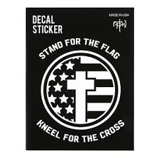 Notw Stand For The Flag Kneel For The Cross Window Decal White 5 X 5 Inches Mardel