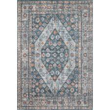bungalow rose ming navy blue area rug