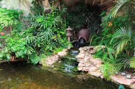small simple waterfall with stone