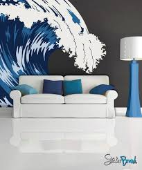Graphic Idea For Painting A Wave Vinyl Wall Decal Blue Ocean Wave Mcrespo105 Beach Theme Bedroom Decor Beach Wall Decals Wall Decals
