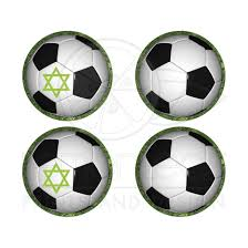 Soccer Ball On Green Grass Envelope Seals With Or Without Star Of David