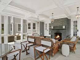 sunroom with fireplace transitional