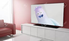 Tv Kids Show On Smart Tv On A Living Room 3d Rendering Stock Photo Picture And Royalty Free Image Image 78421904