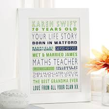 personalized 70th birthday memory gifts
