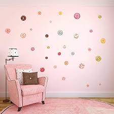 Amazon Com 48 Counts Donuts Wall Decorations Kawaii Food Decor For Girls Room Nursery Wall Decals Kitchen Dining