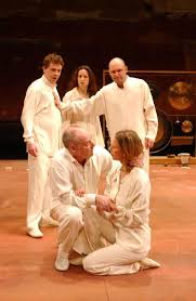 """Leon Levy BAM Digital Archive: Photograph: [Fergus O'Donnell, Abigail Thaw,  John Ramm, Terry McGinity, and Jane Arnfield in a scene from the  Shakespeare's Globe Theatre production """"Cymbeline"""" during BAM Spring  Series, 2002] ["""