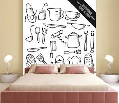Set Of Kitchen Utensil Doodle Isolated On White Background Wall Mural Mhatzapa