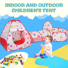 Children S Tent Indoor Outdoor Folding Three Parts Tunnel Dot Game Wave Ocean Ball Pool Fence Kids Ball Pit Foldable Portable Toy Tents Aliexpress