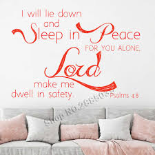 New Arrivals Wall Quote Psalm 4 8 I Will Lie Down Scripture Wall Decal Inspirational Quotes Nursery Wall Sticker Bedroom Lc746 Wall Stickers Aliexpress