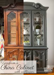 china cabinet makeover with wallpaper