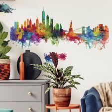 New York City Watercolor Skyline Peel And Stick Giant Wall Decals Roommates Decor