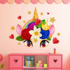 Unicorn Eyes Wall Stickers Rainbow Wall Art Girls Bedroom Stars Nursary Decal Ebay