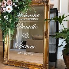 Mega Sale 1e9c42 Wedding Welcome Mirror Vinyl Sticker Simple Design Personalized Names Decal Wedding Sign Mirror Decor Custom Wedding Art Az657 Cicig Co
