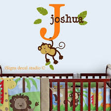 Monkey Name Wall Decal Monkey Wall Decal Nursery Wall Etsy Monkey Wall Decals Name Wall Decals Kids Room Decals