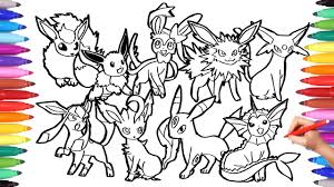 Pokemon Coloring Pages Eevee Evolution | Pokemon coloring book fun Art for  Kids - YouTube