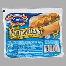 kunzler 1 lb 10 1 size turkey franks