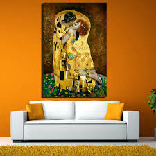 Original Famous Paint The Kiss By Gustav Klimt Wall Painting For Home Discount Canvas Print