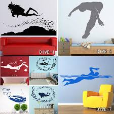 Fish Scuba Diving Wall Sticker Seafloor Home Decor Removable Surfing Swimming Vinyl Wall Art Decal For Living Room Vinyl Wall Art Decals Wall Art Decalsvinyl Wall Art Aliexpress