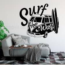Modern Window Decal Surf The Wave With Camper Car Wall Sticker Old Vintage Auto Car Wall Mural Vinyl Camper Van Wall Poster Flower Wall Sticker Flower Wall Stickers From Joystickers 11 67 Dhgate Com