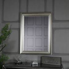 antique silver framed bevelled wall
