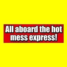 Funny All Aboard The Hot Mess Express Car Truck Bumper Sticker Window Decal 9 99 Picclick
