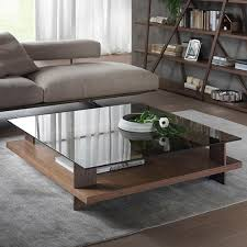 large square smoked glass top wooden