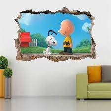 Snoopy Vinyl Wall Decals Artistic Colorful Animated And Different Snoopy Wall Decal Brown Wall Stickers Charlie Brown Wall Art
