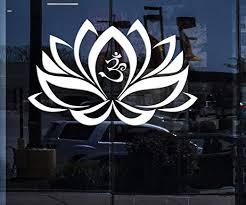Amazon Com Window Sign Vinyl Decal Wall Sticker Lotus Flower Om Yoga Buddha Decoration Unique Gift M658w White 22 In X 35 In Home Kitchen