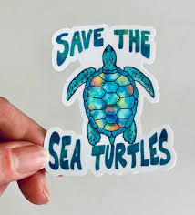 Waterproof Save The Sea Turtles Quality Vinyl Sticker 3 Etsy